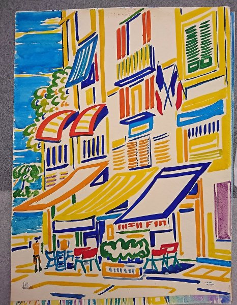 Gillis van Oosten - Diverse gouaches van Cannes, Menton en andere locaties aan de Mediterranee