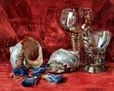 Stilleven met schelpen en glazen