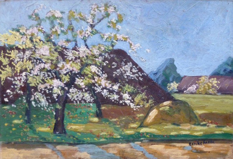 Romke Faber - boerderij met appelbloesem