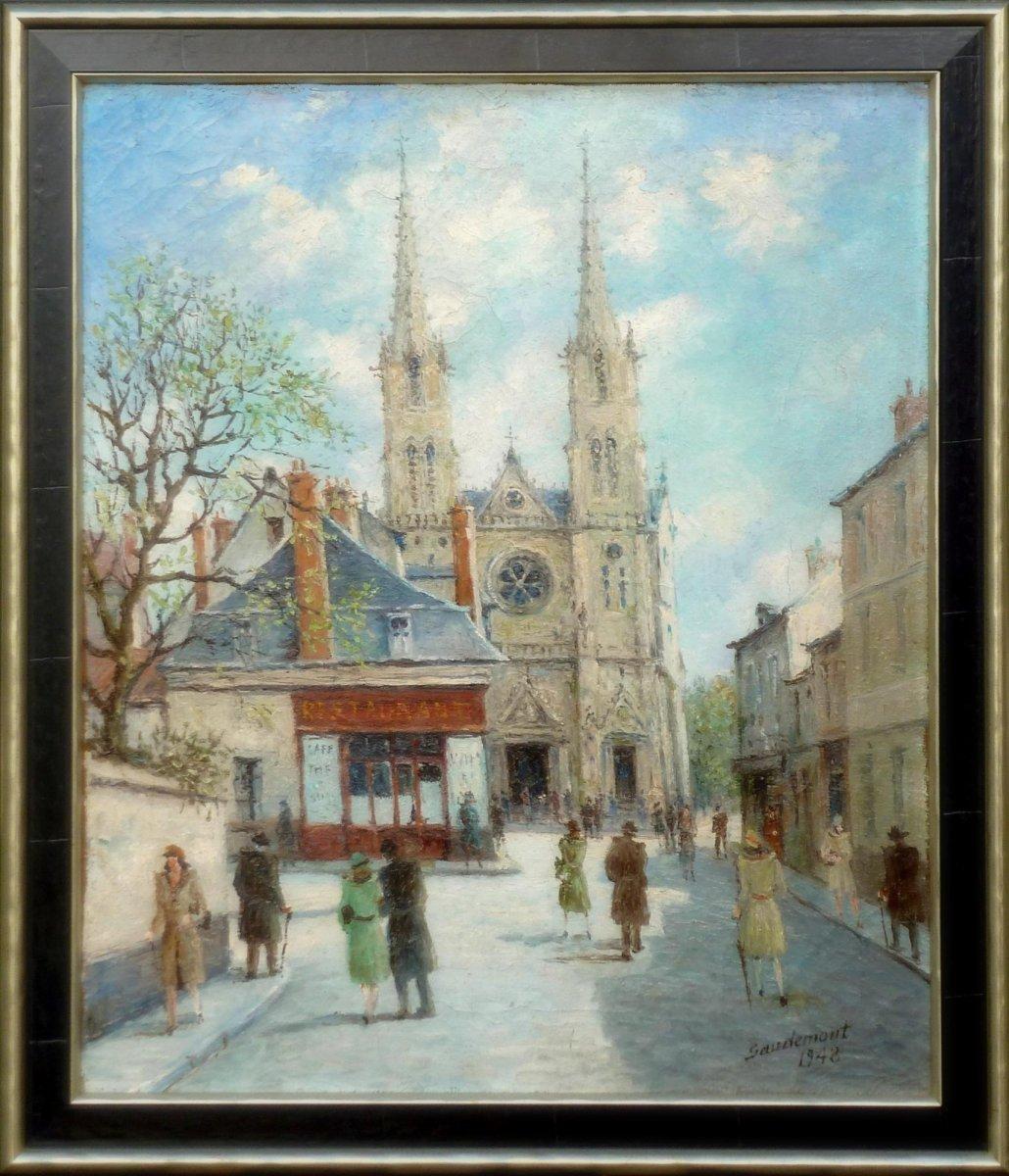 Emile Saudemont - Levendig stadsgezicht Parijs