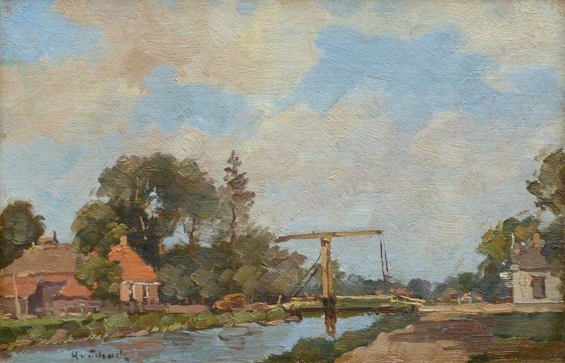 Hugo van Schaik - Drents landschap met ophaalbrug