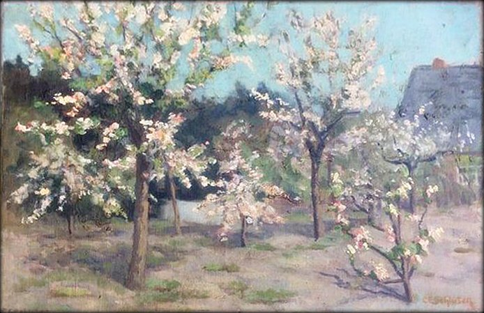 Carl E Schlüter - Bloeiende boomgaard bij Laren - Blaricum