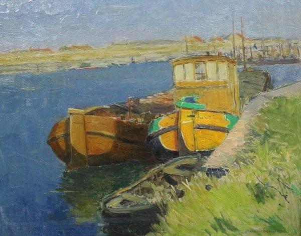 Maurice Seghers - Riviergezicht met afgemeerde schepen