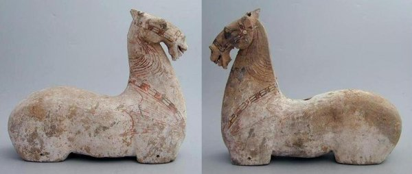 Chinese Archeologie - 2 Shandong Horses Met Oxford TL test (verkocht)