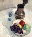Stilleven met kan en fruit op tafel