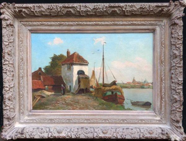 Chris  (Christiaan Pieter) Snijders - Aangemeerd vrachtschip omgeving Rotterdam