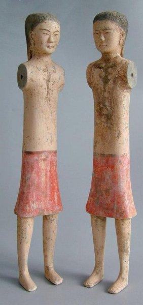 Chinese Archeologie - 2 Han Dynastie stickgirls met TL test