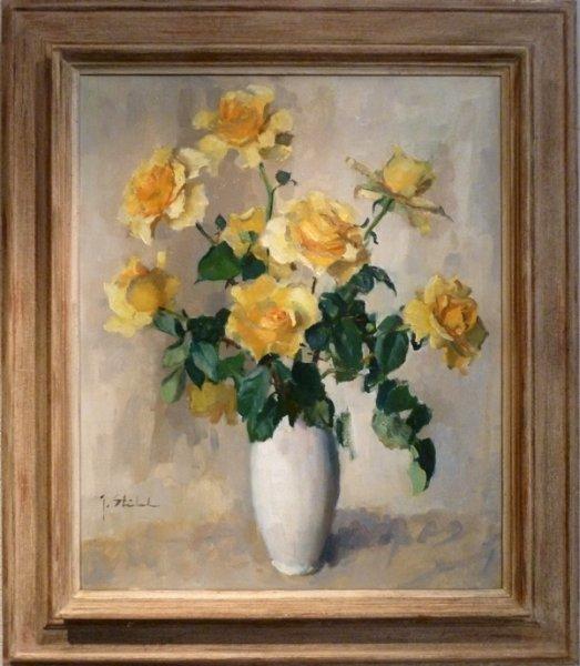 Joop Stierhout - Bloemstilleven met gele rozen