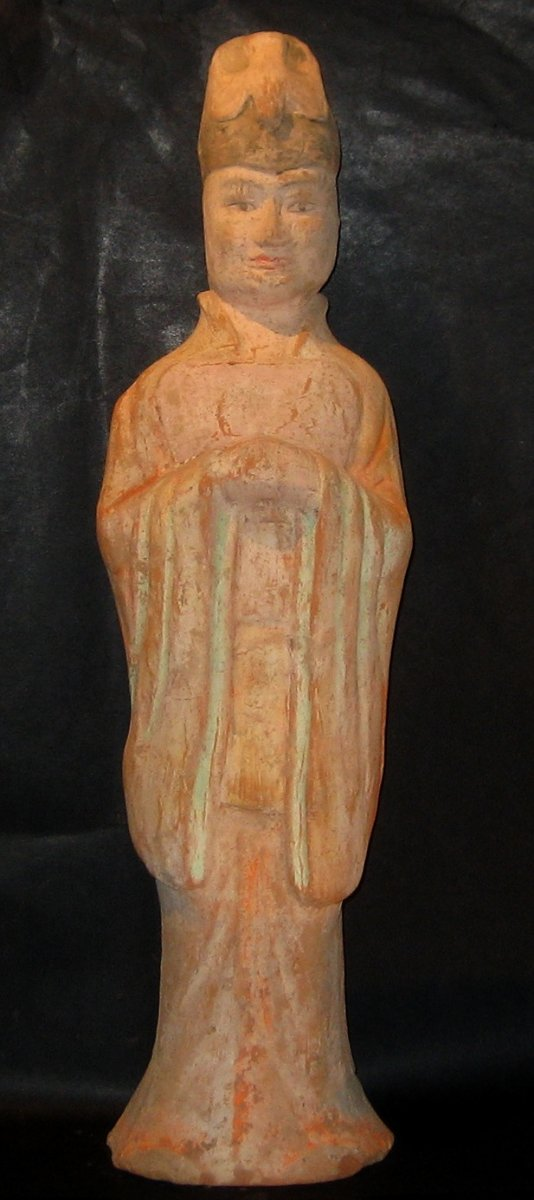 Chinese Archeologie - Tang Dynastie Functionaris 618 - 907 AD H.56 cm