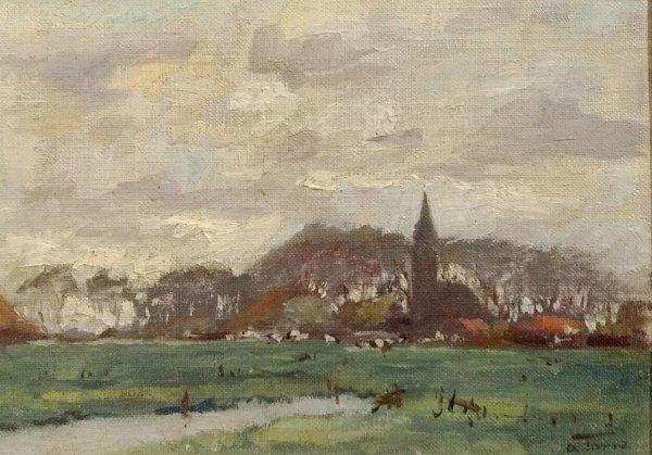 Albert Torie - Gezicht op een dorp in Drenthe of Groningen