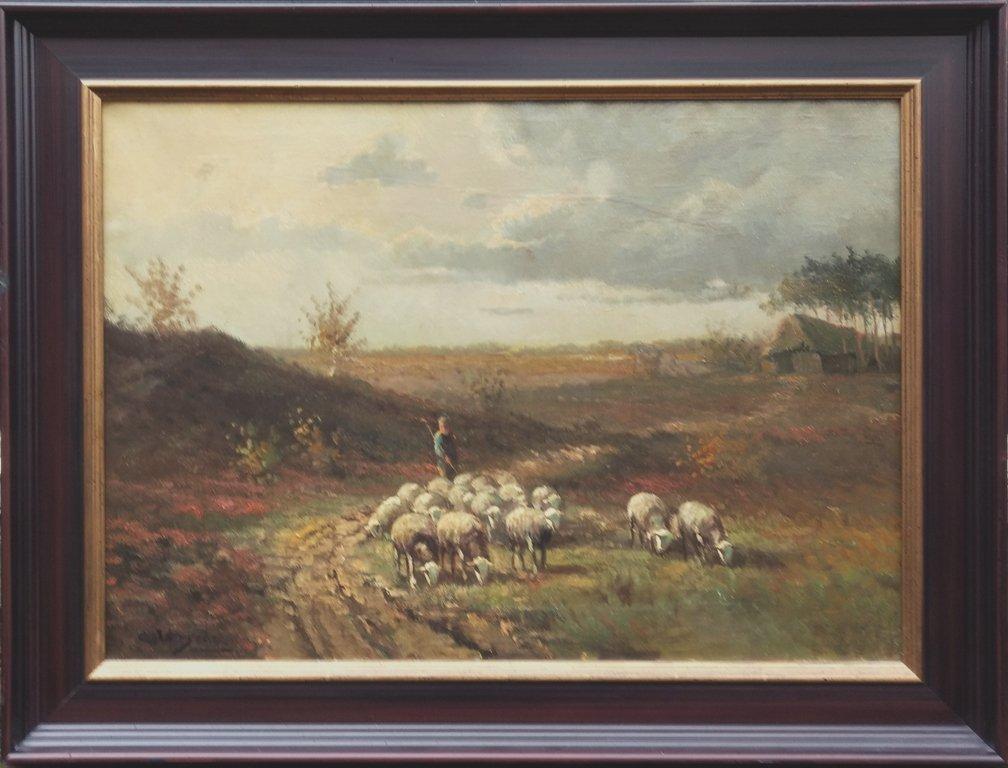 Cornelis Verschuur - Op weg naar de schaapskooi in het avondlicht