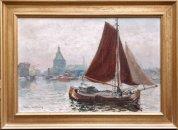 Martin van Waning: Voor de haven van Enkhuizen met de Dromedaris