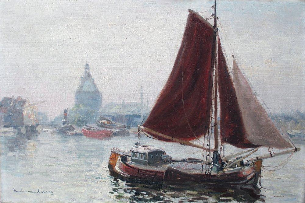 Martin van Waning - Martin van Waning: Voor de haven van Enkhuizen met de Dromedaris