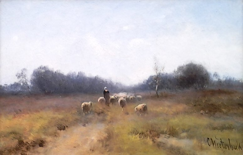 Cornelis Westerbeek - Herder met schapen op de heide