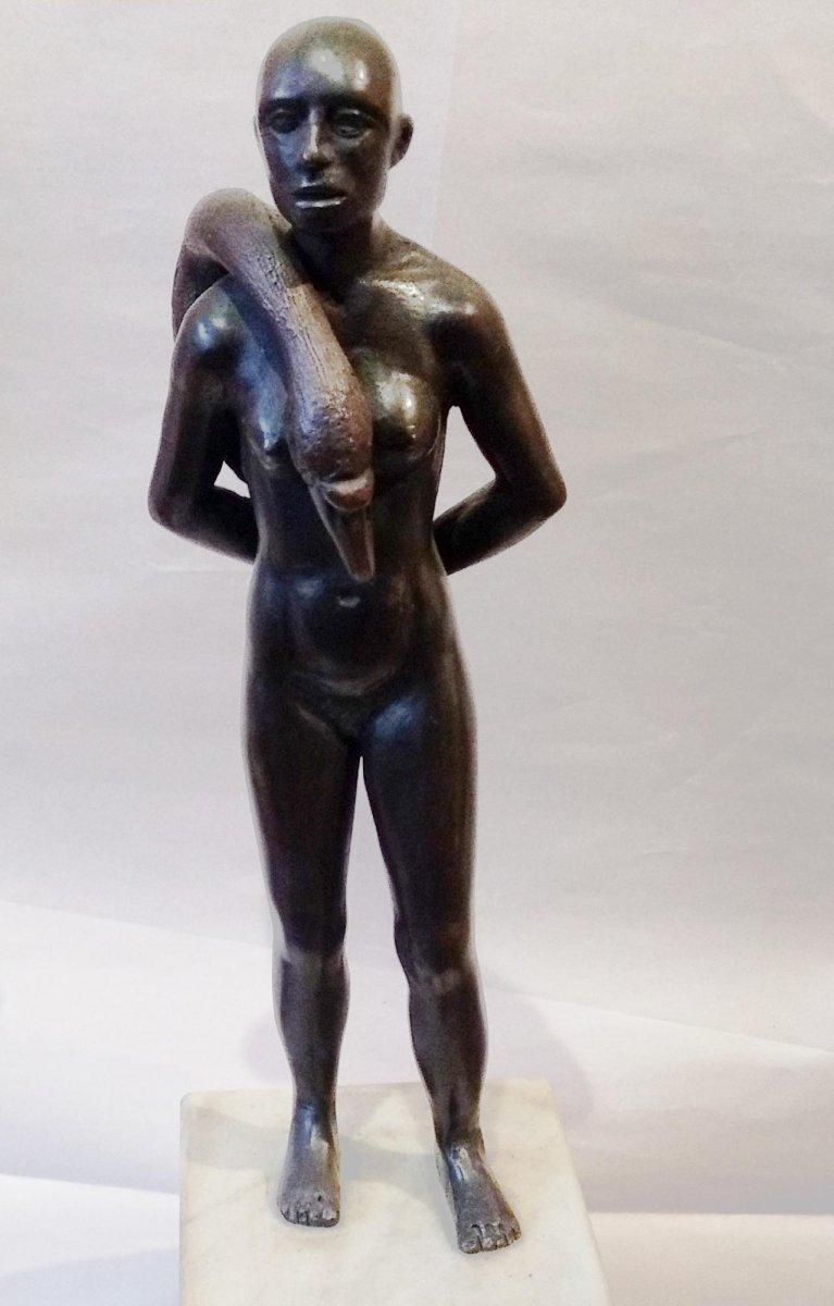 Els van Westerloo - Vrouw met zwaan (brons)