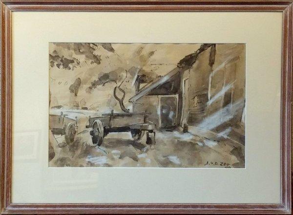 Jan van der Zee - Groninger Ploeg: Boerenerf met houten kar  van Jan van der Zee