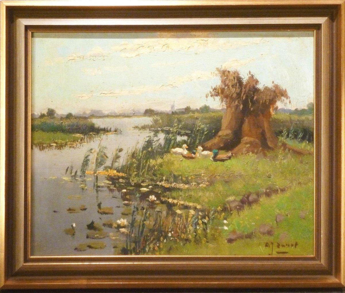 A.J. Zwart - Eenden aan de plassen bij Nieuwkoop