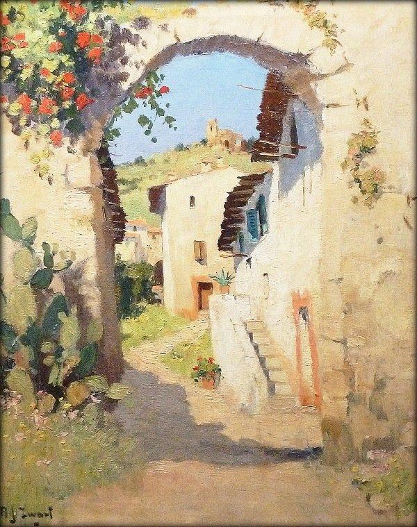 A.J. Zwart - Dorpsgezicht Grimaud  (Var) Frankrijk